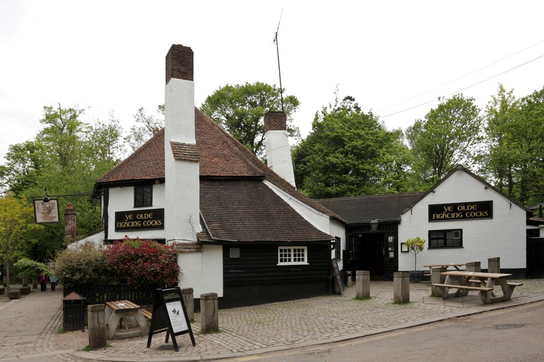 Ye Olde Fighting Cocks in Abbey Mill Lane in the historic City of St Albans, noted as the oldest pub in England.