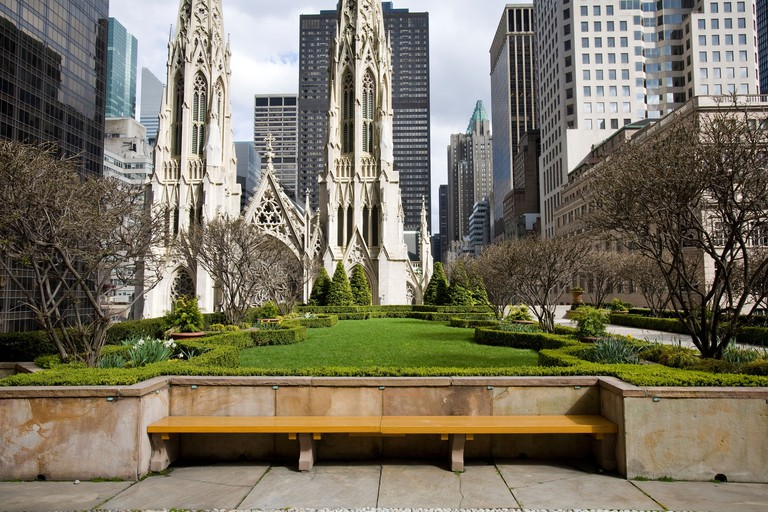 Seventh floor roof garden at 45 Rockefeller Plaza, NY, New York facing Saint Patrick's Cathedral on Fifth ave.