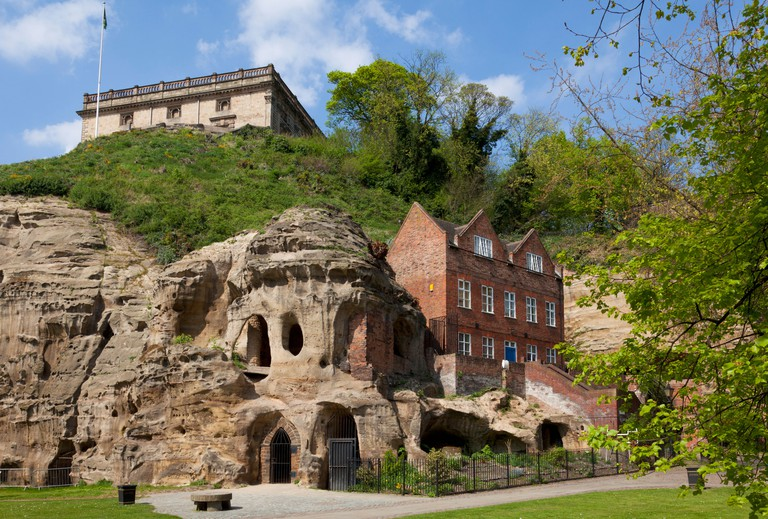 Castle Rock dominates Nottingham and the castle sits on top of caves in the rock Nottingham city centre England UK GB EU Europe