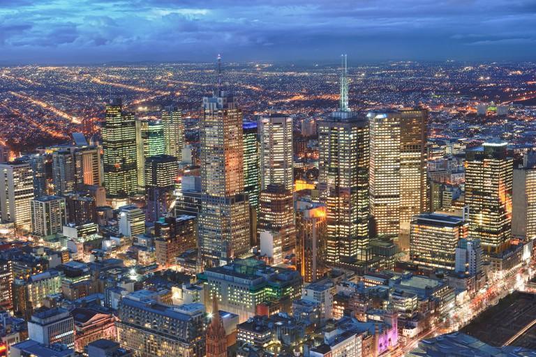 Melbourne skyline from Eureka Skydeck 88 at dusk Australia
