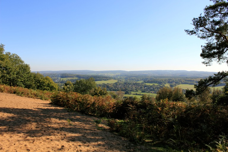View from St Martha's Hill near Guildford Surrey England UK
