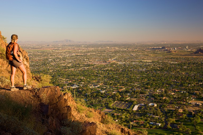 Hiking on Camelback Mountain Phoenix Arizona model released