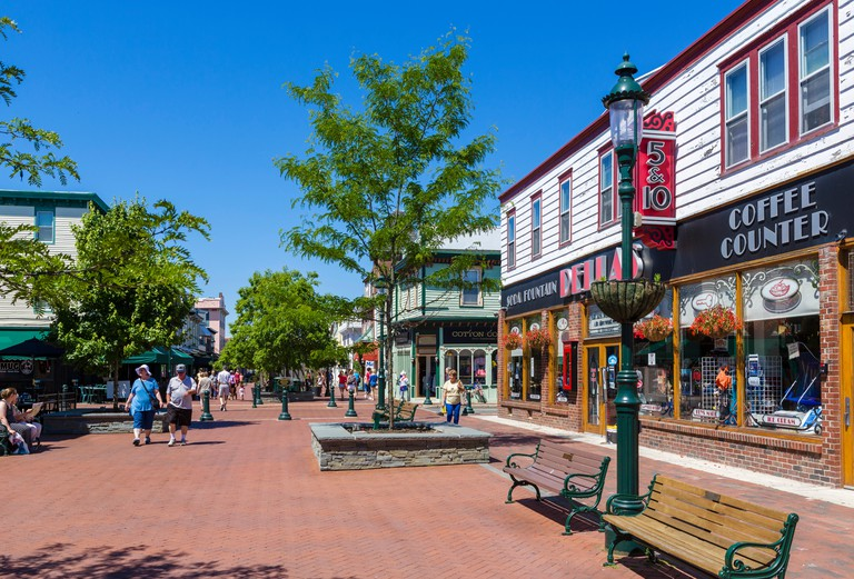 The pedestrian area of Washington Street in downtown Cape May, New Jersey, USA