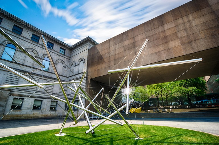 """""""Forest Devil"""" by Kenneth Snelson, now resident outside the Carnegie Museum of Art, is an excellent example of ?tensegrity? .  Pittsburgh, PA, USA"""