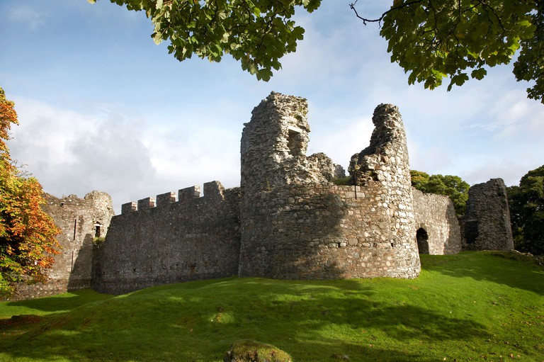 The historic remains of Old Inverlochy castle in the Scottish Highlands.