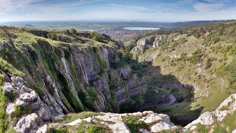 Cheddar Gorge; Somerset; Looking towards Cheddar and the Bristol Channel UK