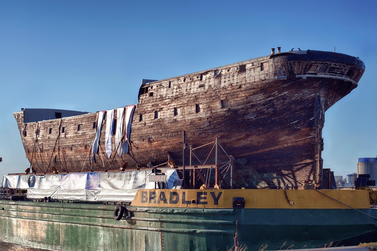 "The clipper ship the ""City of Adelaide"" prior to restoration"