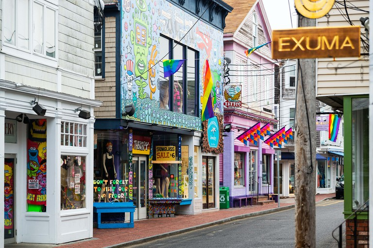 Colorful shops on Commercial Street in Provincetown, Cape Cod, Massachusetts, USA