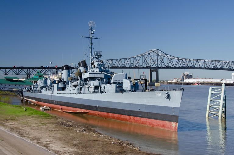 Louisiana, Baton Rouge. Mississippi River port area. USS Kidd Veterans Memorial. World War II Fletcher class destroyer.