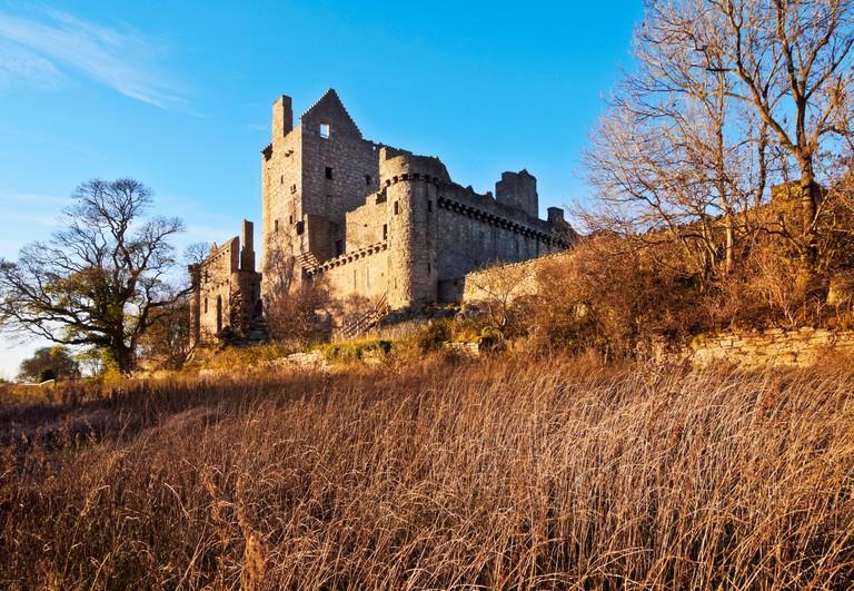 UK, Scotland, Lothian, Edinburgh, View of the Craigmillar Castle.