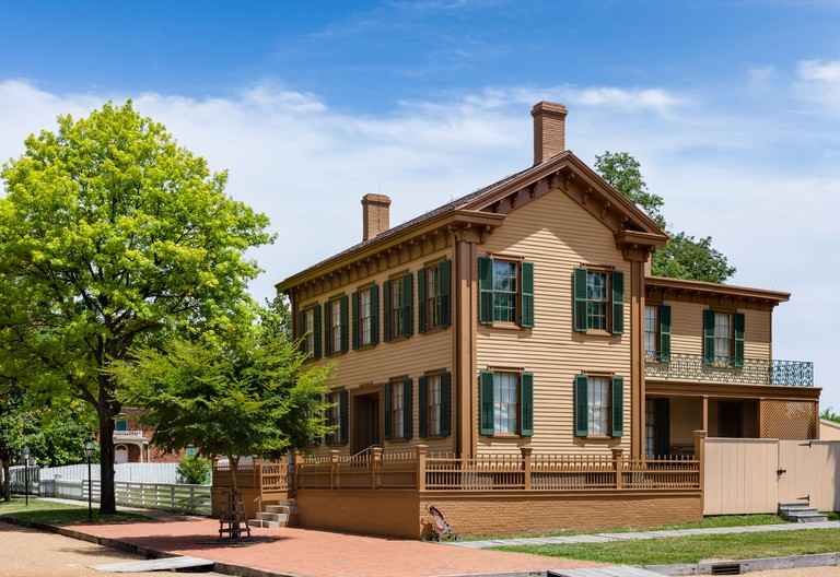 The historic home of Abraham Lincoln in the Lincoln Home National Historic Site, Springfield, Illinois, USA
