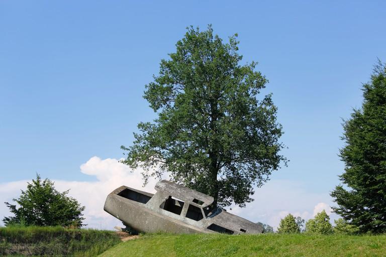 Sculpture, concrete boat, 2003, by Michael Schuster, Austrian Sculpture Park, Unterpremstaetten near , Austria, Europe