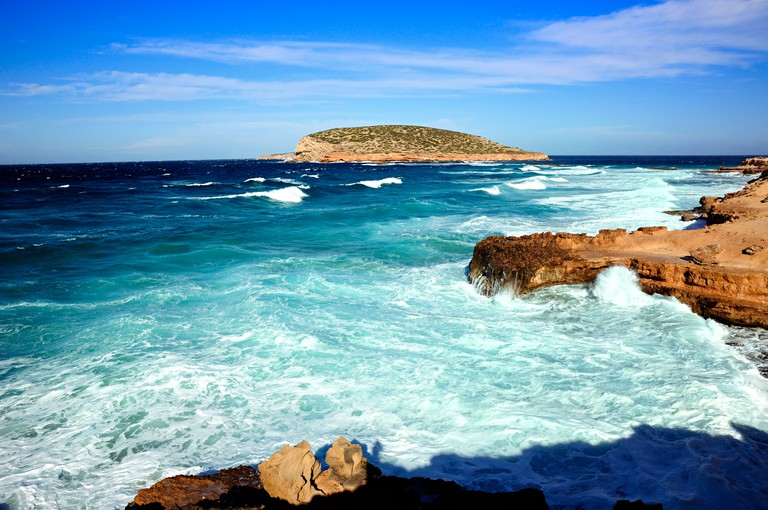 Heavy sea over Cala Comte . Ibiza, Balearic Islands, Spain