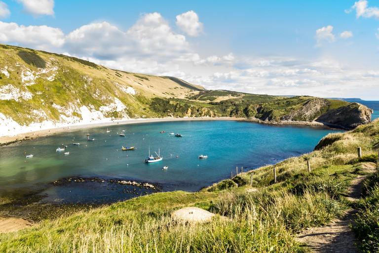 Overlooking the beautiful Lulworth Cove Dorset England UK