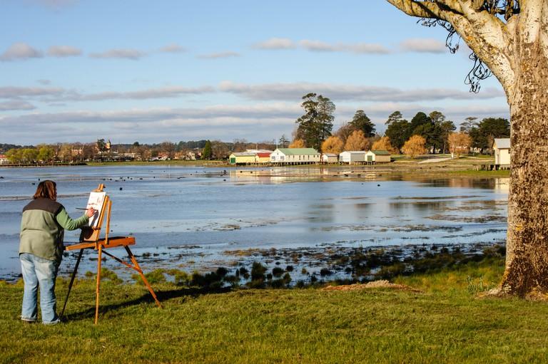 Artist  Painting Lake Wendouree Ballarat Victoria, Australia