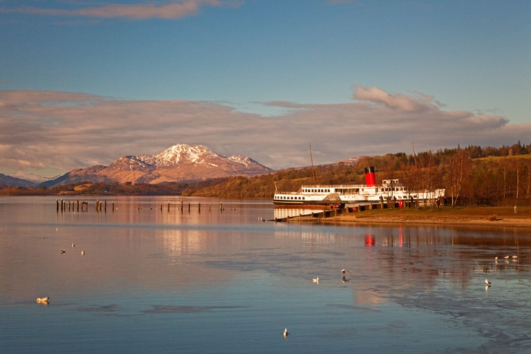PS Maid of the Loch at Balloch on Loch Lomond. Ben Lomond is in the background.