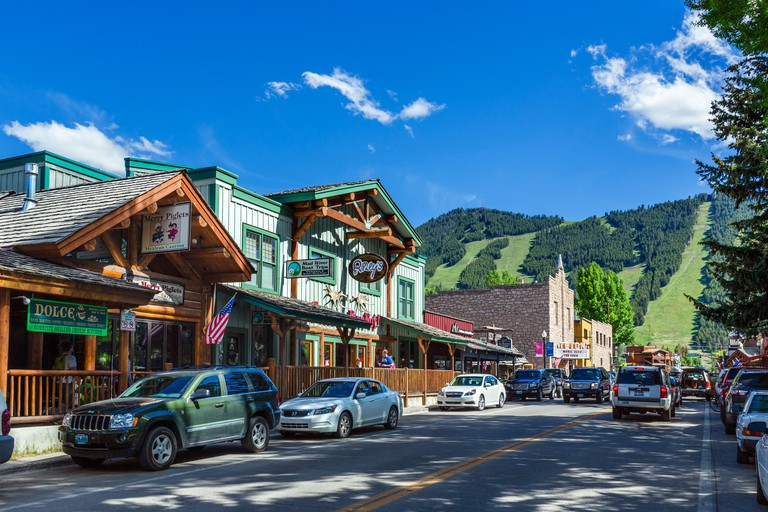 North Cache Street in downtown Jackson, Wyoming, USA