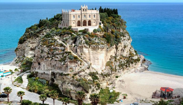 Church Santa Maria dell Isola on Isola Bella, Tropea, Calabria, Italy