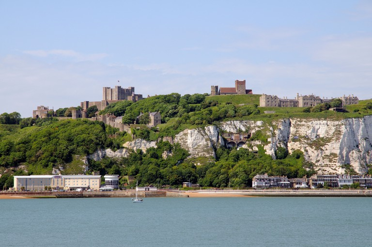 The White Cliffs of Dover Kent England UK Dover Castle & St Marys Castro church & Saxon Lighthouse on the cliff top. Image shot 06/2010. Exact date unknown.