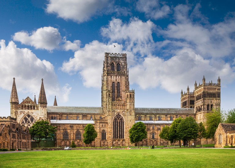 Durham Cathedral and Palace Green, Durham City, England.