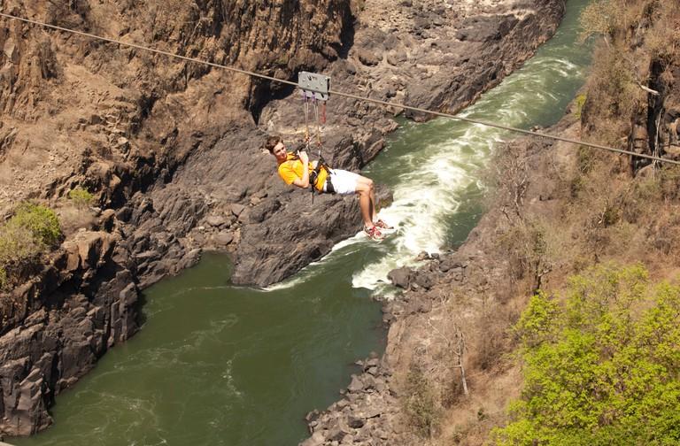 Gorge swing in Victoria Falls, Zambia