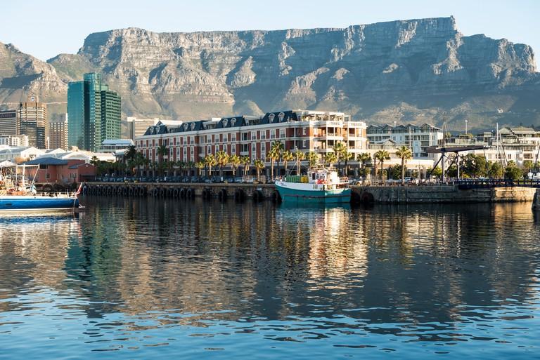 Victoria and Alfred Waterfront Cape Town South Africa with Cape Grace Hotel and Table Mountain