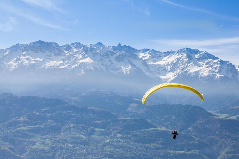 Paragliding at Saint Hilaire du Touvet, Natural park of Le Chartreuse, Isere, Rhone-Alpes, France