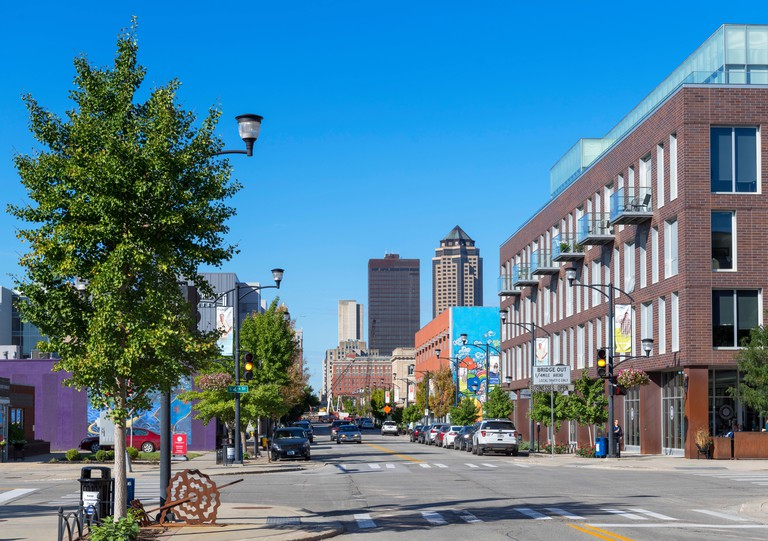View towards downtown from E Locust St in the East Village, Des Moines, Iowa, USA.