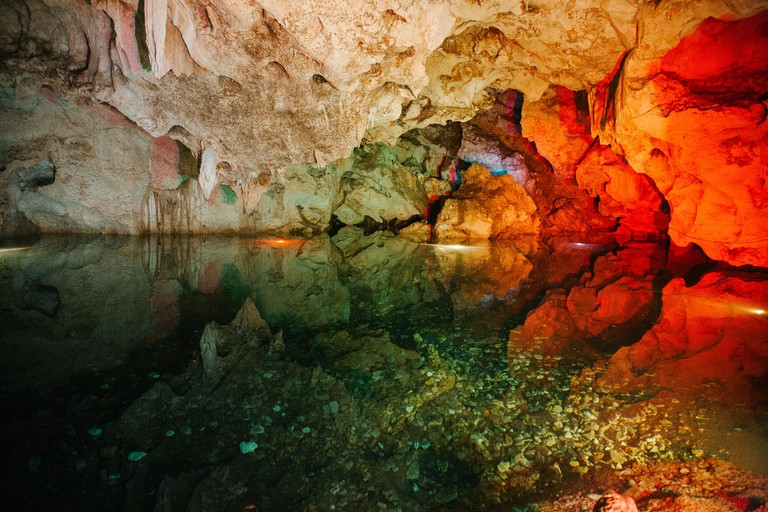 Inside the Green Grotto Caves in Falmouth, Jamaica.