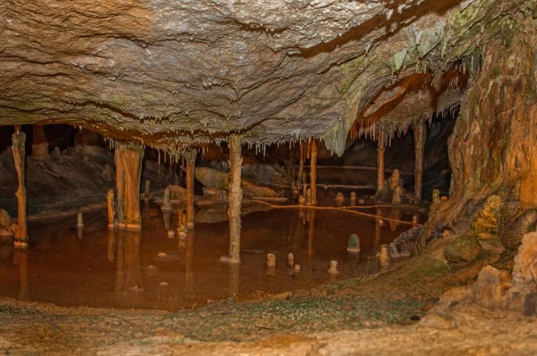 San Marca cave on the east side of Sant Miguel beach on the north coast of ibiza Island, Balearics, Spain