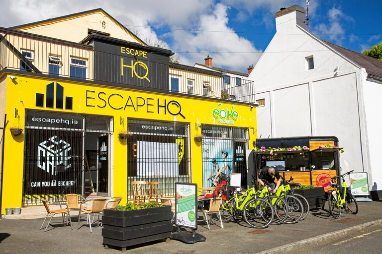 Ireland, Co Louth, Cooley Peninsula, Carlingford, Newry Street, Escape HQ, electric bicycle hire shop