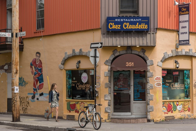 A unique restaurant called Chez Claudette in downtown Montreal, Quebec Province, Canada.