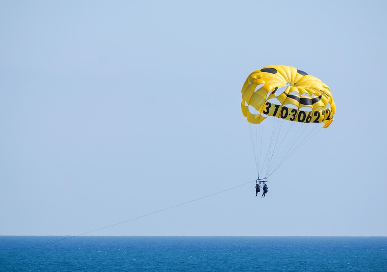 Parasailing at Venice Beach. Image shot 02/2014. Exact date unknown.
