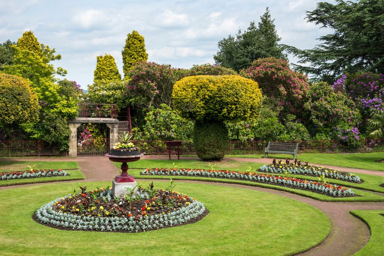 Early summer planting in the Victorian flower garden at Wentworth castle gardens near Barnsley, Yorkshire, England.