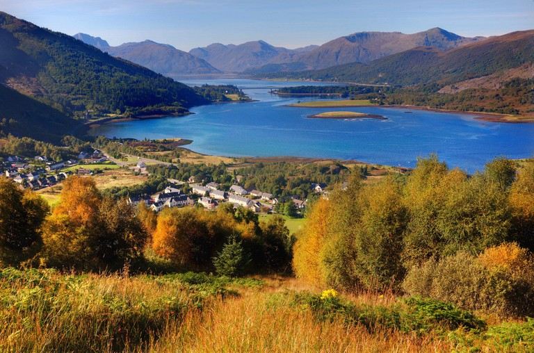 Autumn scene of Ballachulish and Loch Leven, West Highlands.