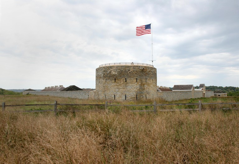 Historic Fort Snelling State Park, Minnesota with the 1822?1836 24-star flag flying from a flagpole