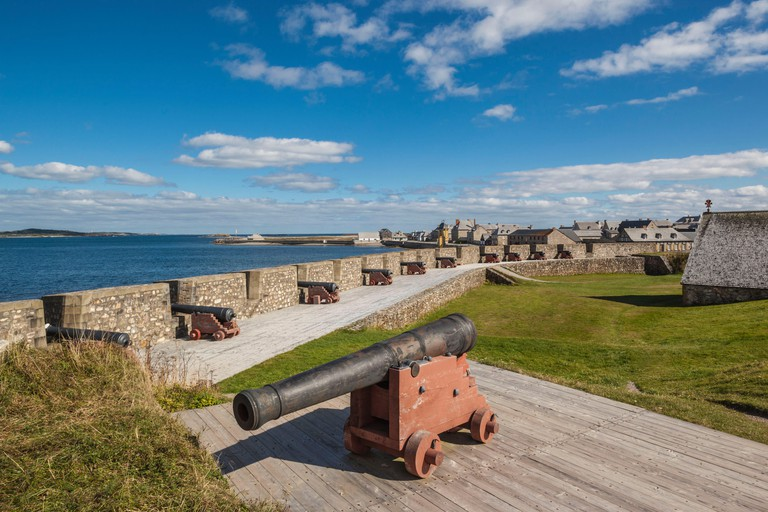 Canada, Nova Scotia, Louisbourg, Fortress of Louisbourg National Historic Park, cannons
