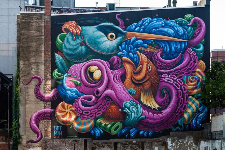 The mural was designed by Jason Botkin, adorns the Freak Lunchbox in Halifax, Nova Scotia.