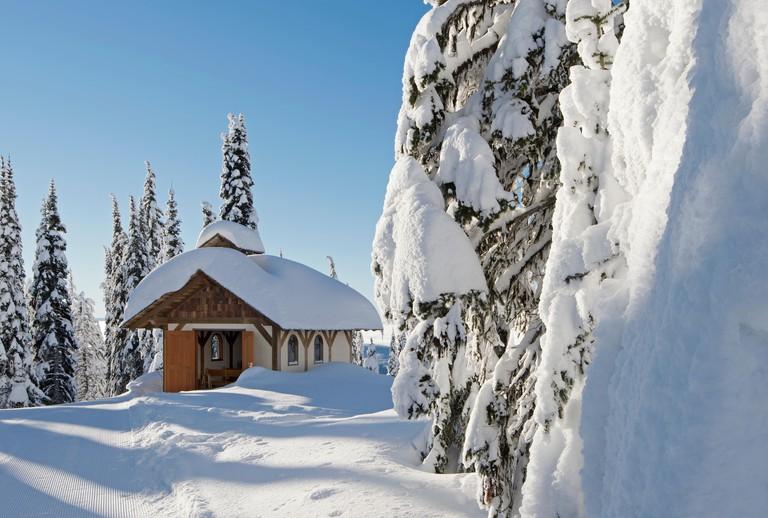 The chapel at mid-mountain on a blue bird day,  Sun Peaks resort, Thompson Okangan region, British Columbia, Canada