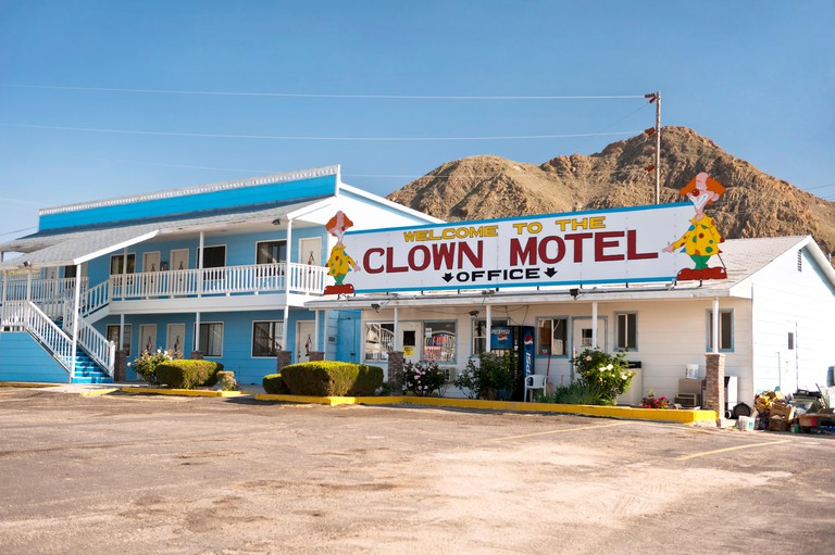 The front entrance of the Clown Motel in Tonopah Nevada