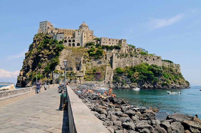 Castello Aragonese, castle, Ponte, Island of Ischia, Gulf of Naples, Campania, Italy