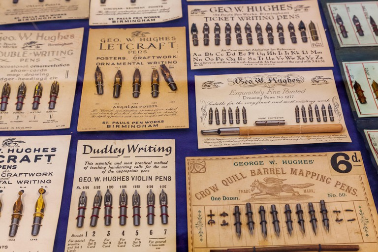 England,West Midlands,Birmingham,The Jewellery Quarter,The Pen Museum,Display of Historical Fountain Pens