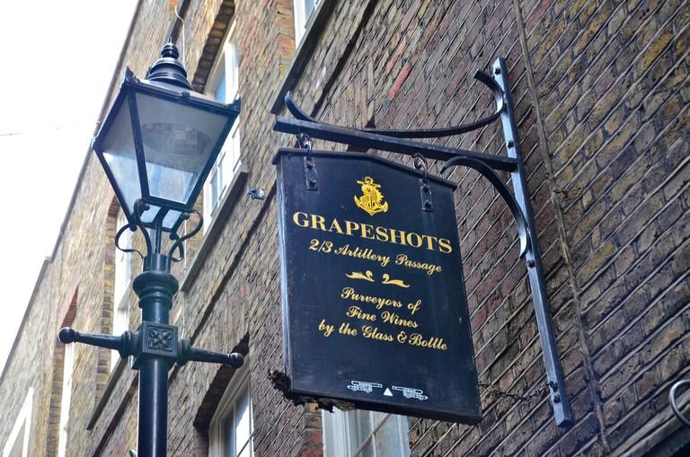 Grapeshots Wine Bar, Artillery Passage, Spitalfields, London, UK