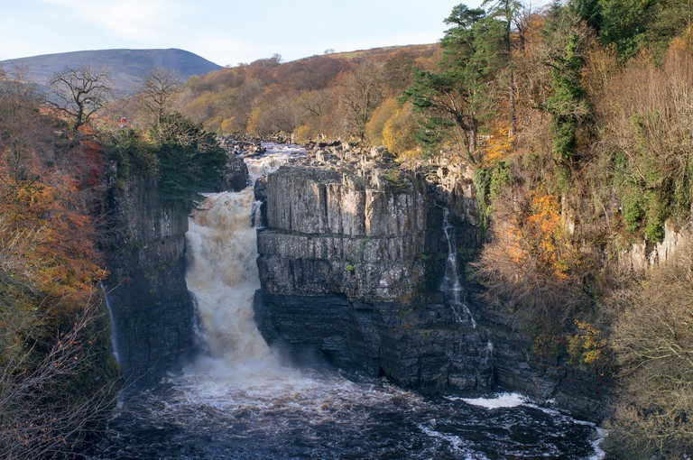 Autumn view of High Force waterfall in Teesdale, north east England, UK