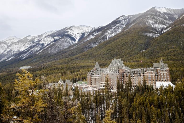 "Historic Fairmont Banff Springs hotel; c 1888; Banff; Alberta; Canada ""Castle in the Rockies"""
