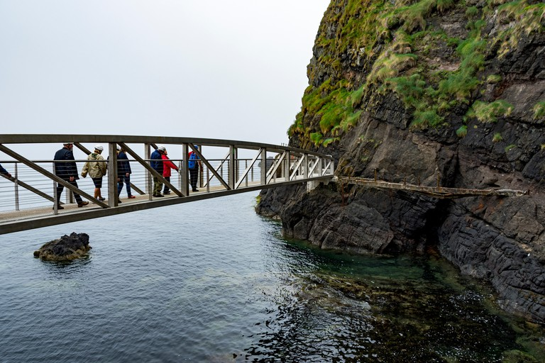 The Gobbins Cliff Path, near Islandmagee, County Antrim, Northern Ireland, UK