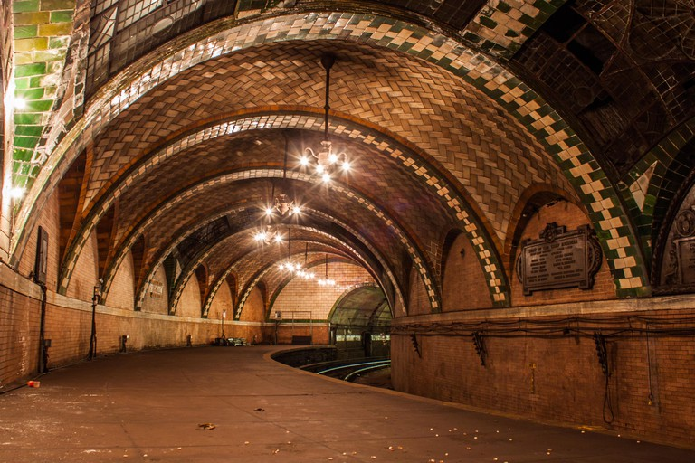 NYC, USA: PEER INSIDE the forbbiden City Hall Subway Station which lies under the heart of the Big Apple and inspired a scene from J K Rowling?s 2016 box-office hit blockbuster Fantastic Beasts and Where to Find Them. The images show a stunning green and