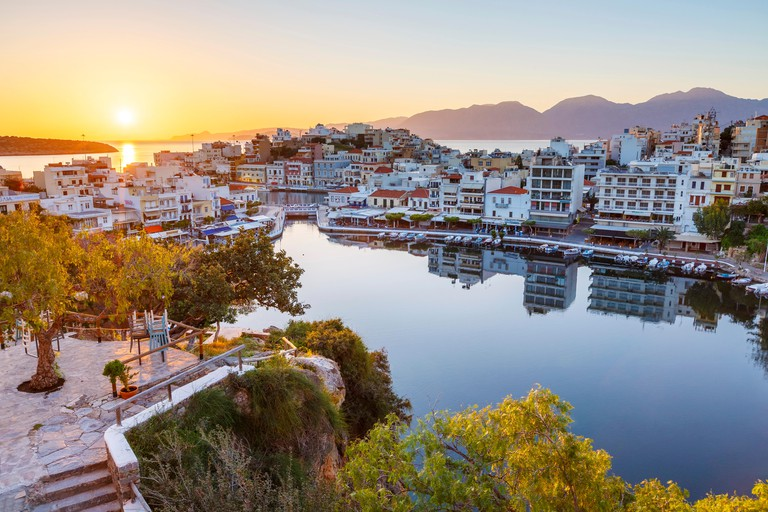 Morning view of Agios Nikolaos and its harbor, Crete, Greece.