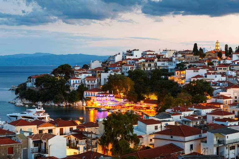 Evening view of Skiathos town in Sporades, Greece.