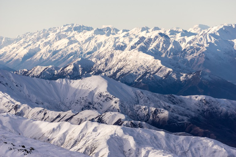 Stunning mountain layers on the South Island of New Zealand from Cardrona Snow Resort.